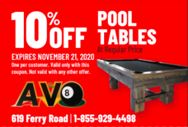 - 10% OFF Pool Tables!