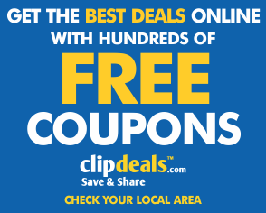Get the best deals online with hundreds of Free Coupons - ClipDeals.com check yourr local area